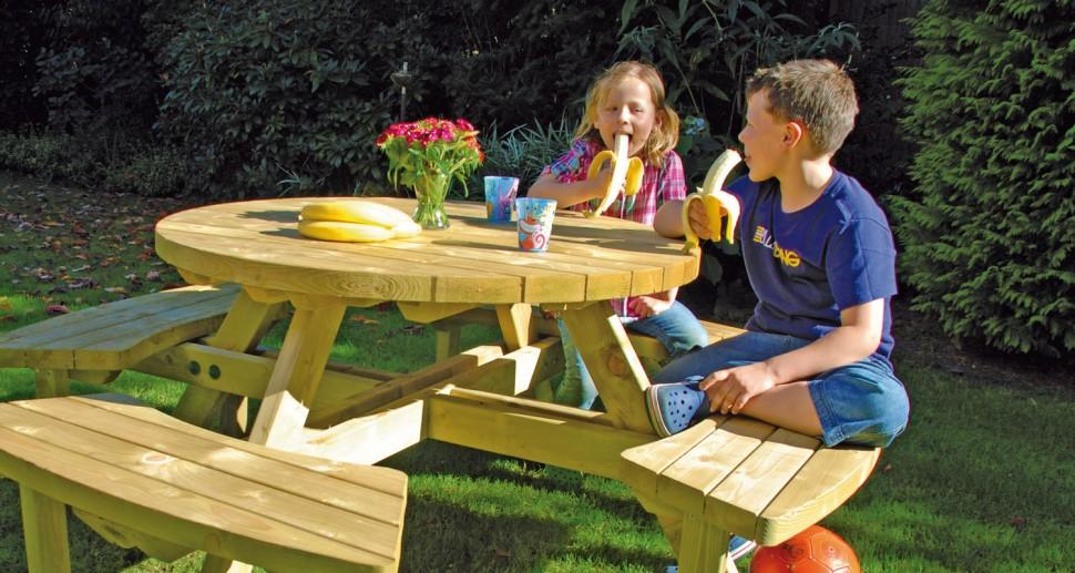 Gartentisch rund Holz mit Bank