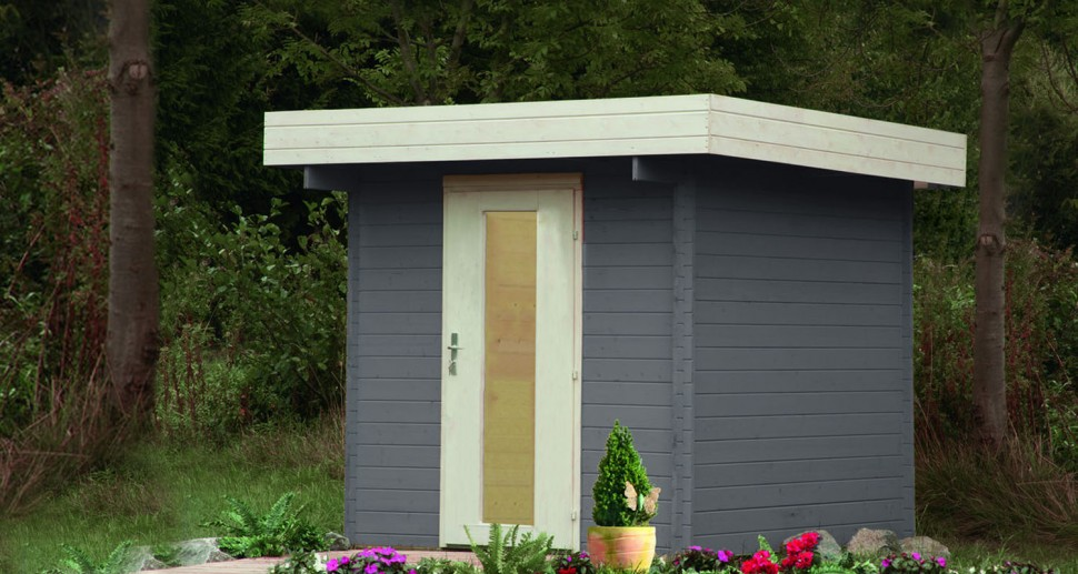 Gartenhaus Kiefer Holz grau weiß