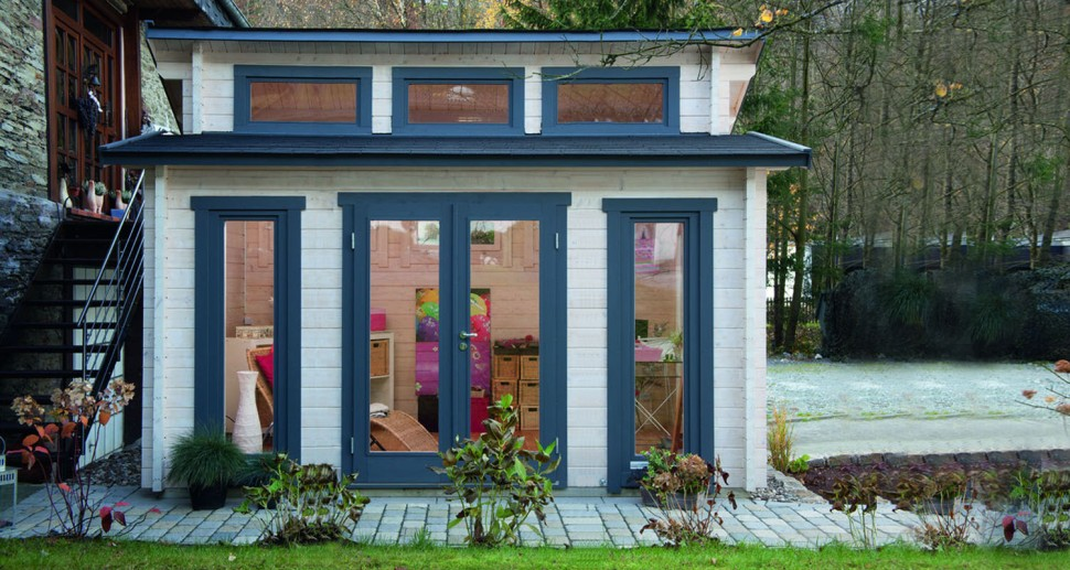Gartenhaus Kiefer Holz blau weiß