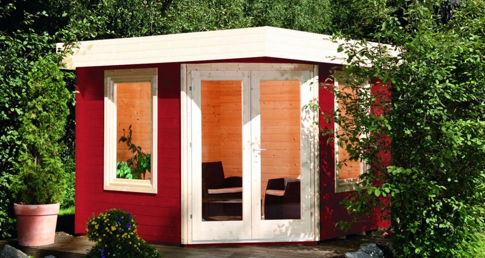 Gartenhaus Kiefer Holz rot weiß
