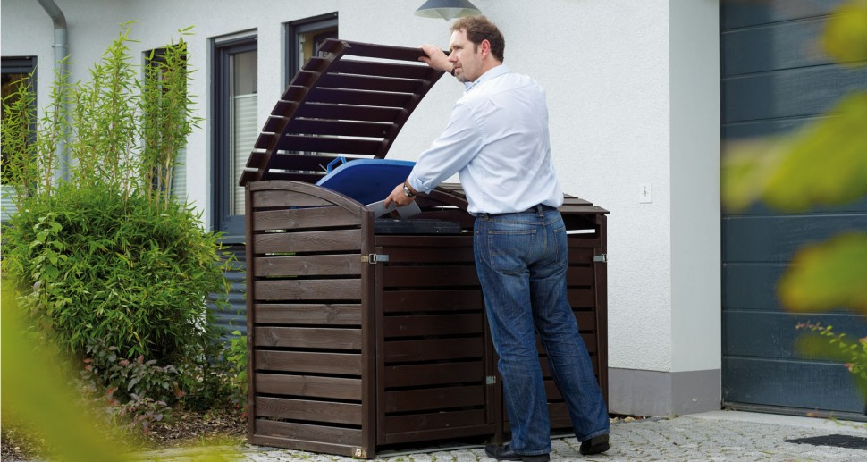Mülltonnenverkleidung Holz dunkelbraun