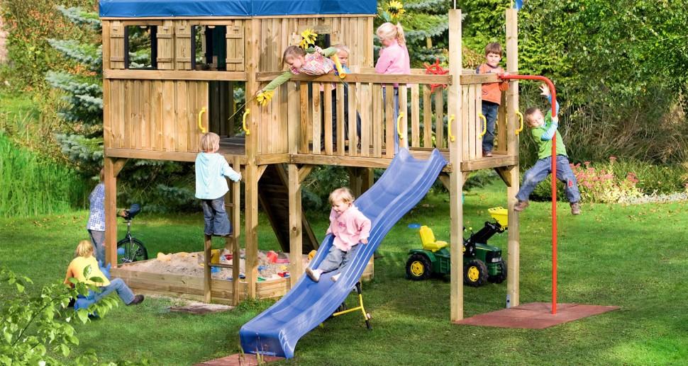 Kinderspielgerät Kletterturm groß Rutsche