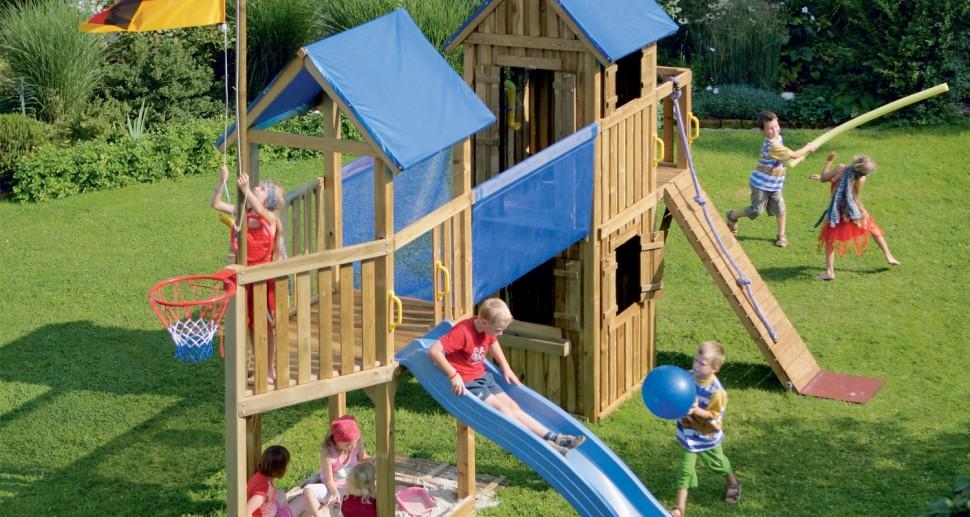 Kinderspielgerät Spielturm groß Rutsche