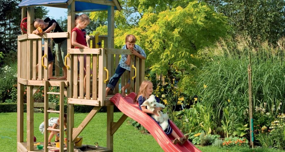 Kinderspielgerät Kletterturm Rutsche