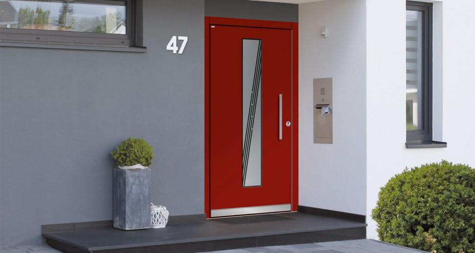 Haustüre Wessler rot modern