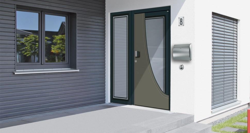 Haustüre Wessler grau schwarz modern