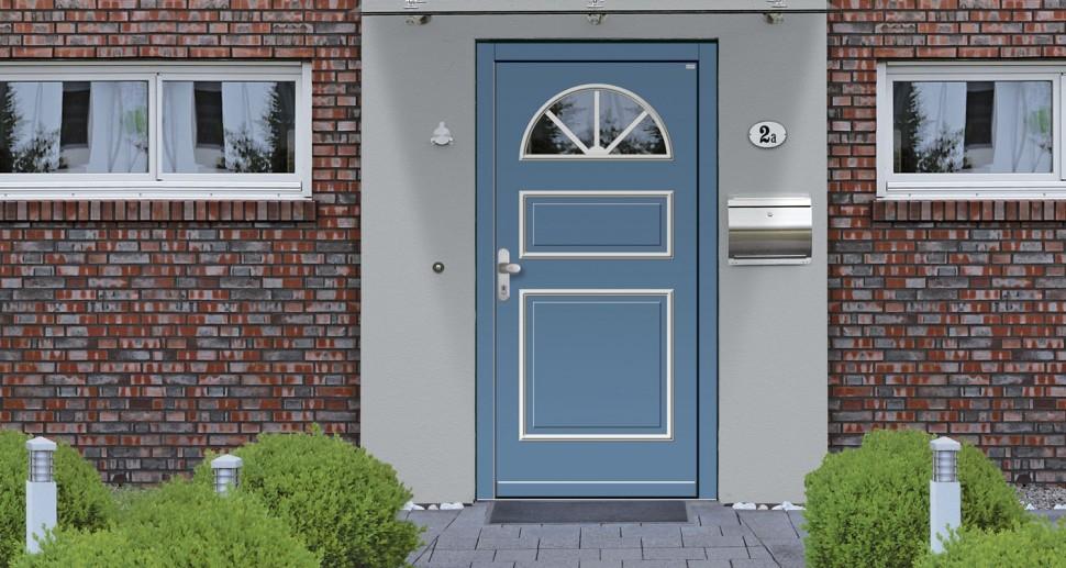 Haustüre Wessler blau für Altbau oder Fachwerk