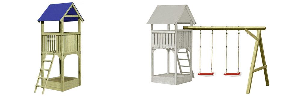 Kinderspielturm und Doppelschaukel